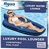 Aqua Luxury Water Lounge, X-Large, Inflatable Pool Float with Headrest, Backrest & Footrest, Palm Beach Flamingo