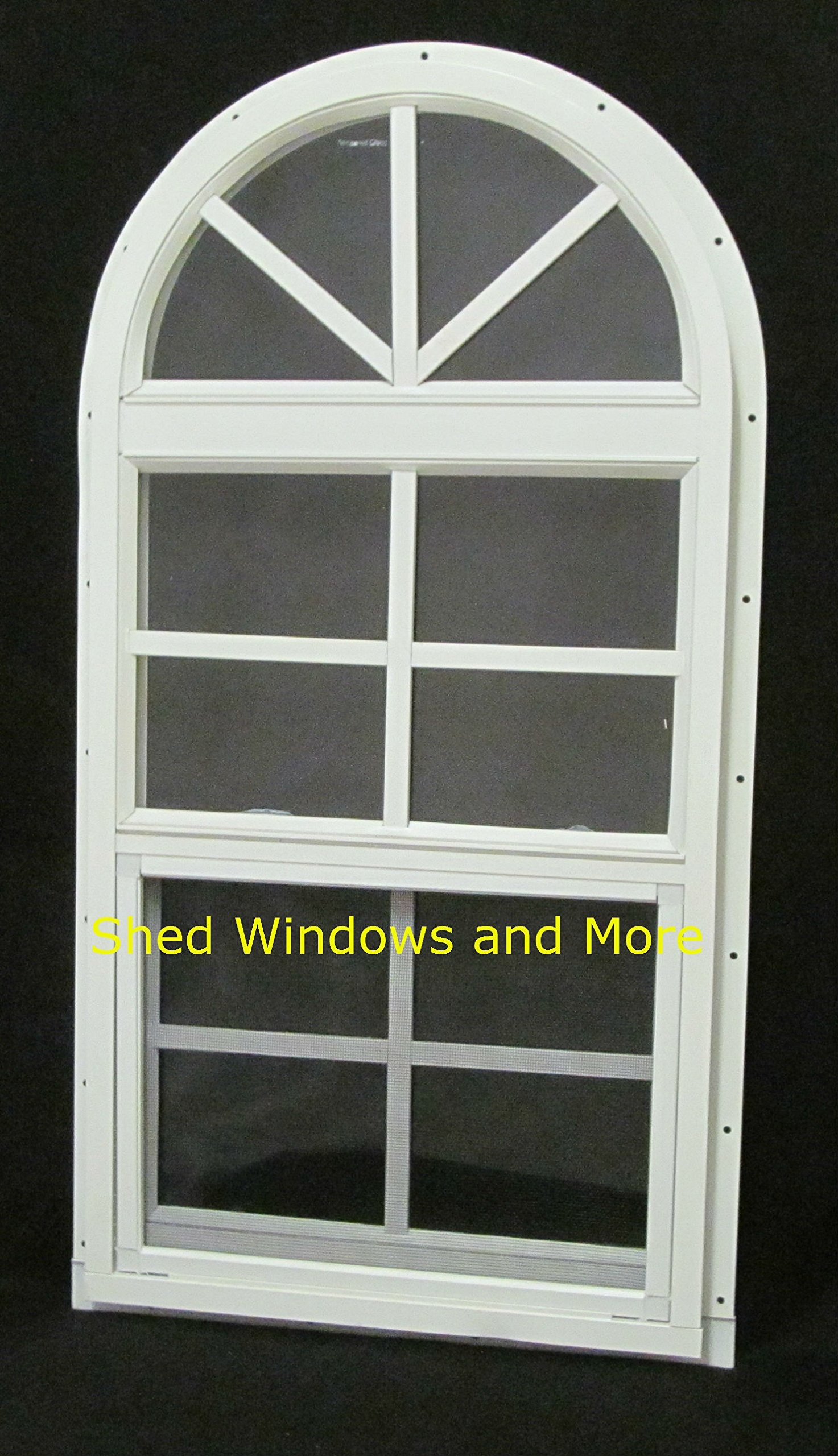 Arched Shed Playhouse Windows 14 X 28 White J-Channel, Safety Glass Aluminum Frame