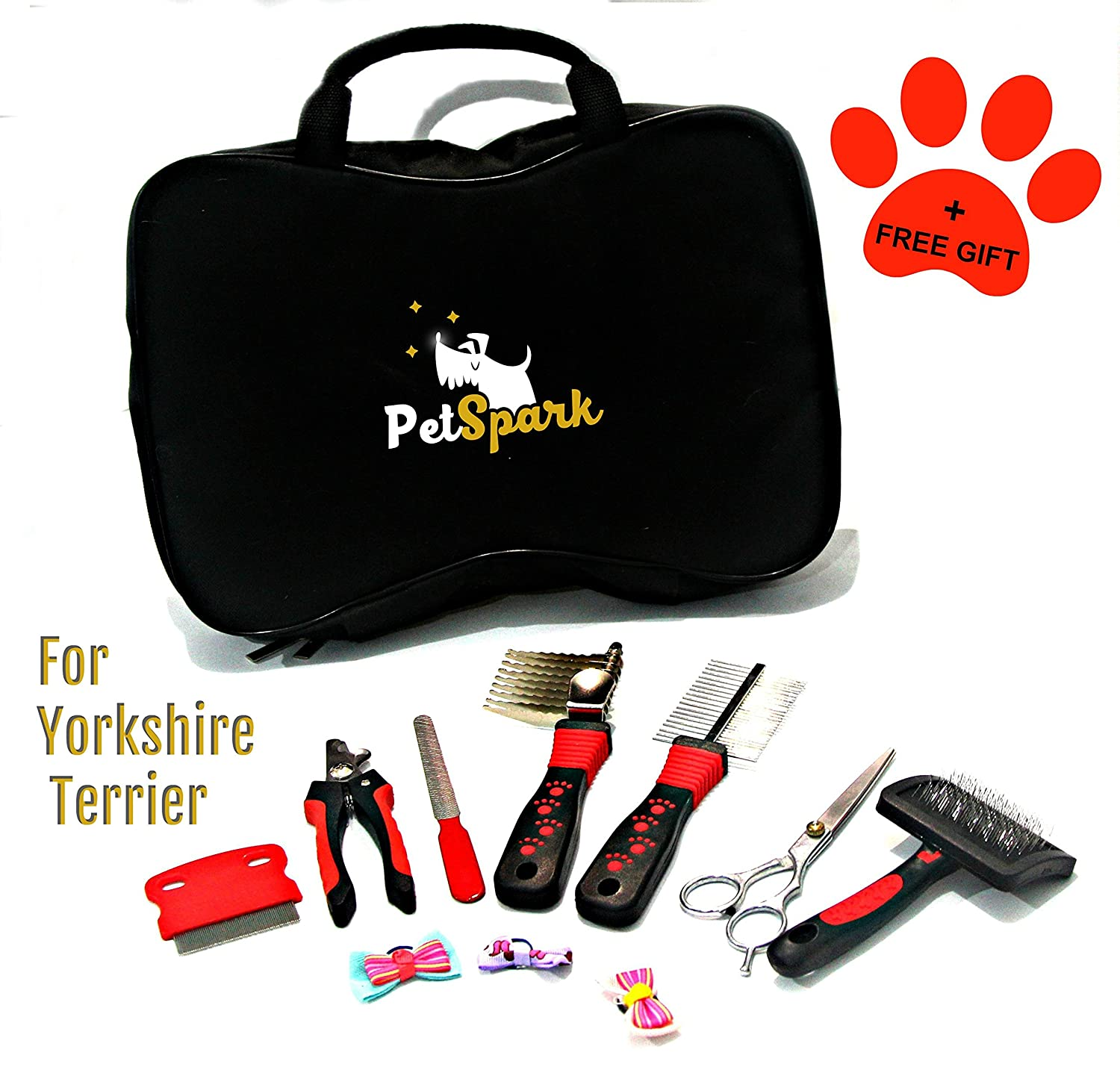 PetSpark Home Grooming Kit for Yorkshire Terrier, Special Design Set Contains All The Tools You Need to Groom Your Yorkie. Stainless Steel, Small Size, Easy to use and Carry w 3 Hair Bows Included