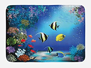"Ambesonne Underwater Bath Mat, Tropical Undersea with Colorful Fishes Swimming in The Ocean Coral Reefs Image, Plush Bathroom Decor Mat with Non Slip Backing, 29.5"" X 17.5"", Blue Navy"