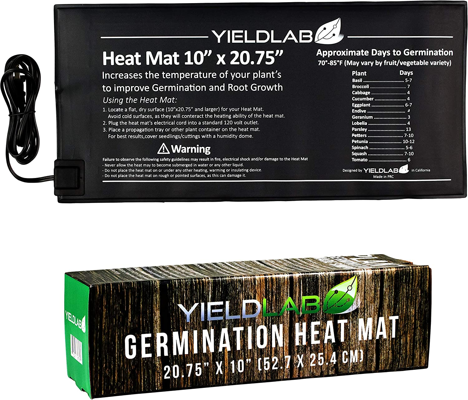 Yield Lab Seed and Clone Heat Mat 20.75 x 10 Inch Hydroponic, Aeroponic, Horticulture Growing Equipment 20.75 x 10 Inch Heat Mat