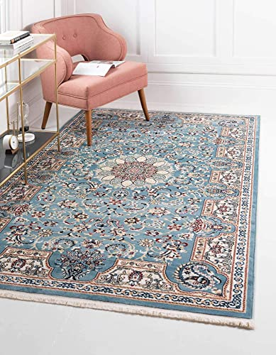 Unique Loom Narenj Collection Classic Traditional Medallion Textured Blue Area Rug 13 0 x 19 8