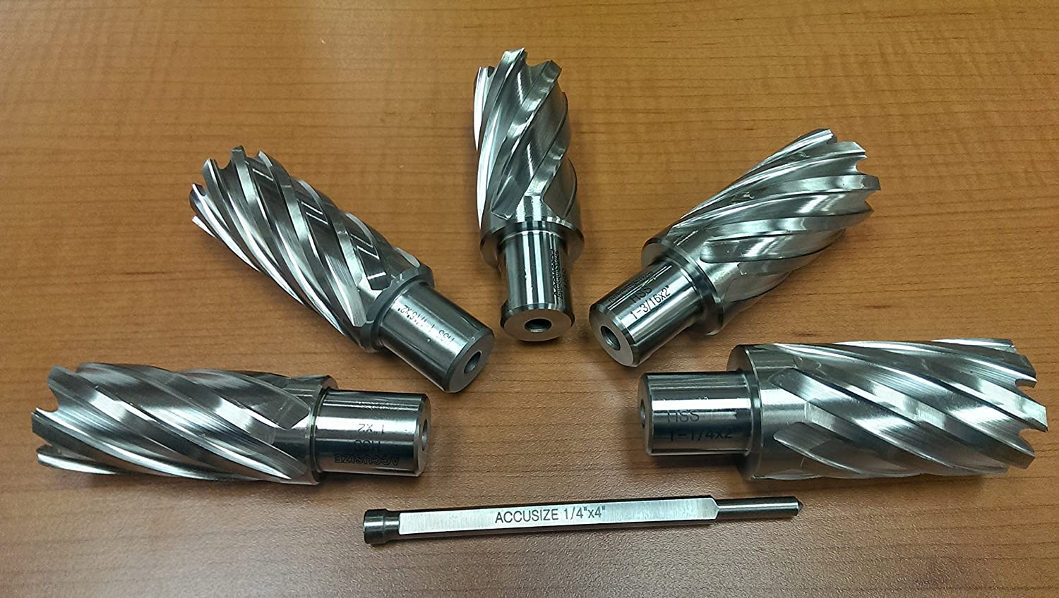 Accusize Industrial Tools 5 Pcs 2 Cutting Depth 1 to 1-1//4 Hss Annular Cutters with 1 Pilot Pin K1