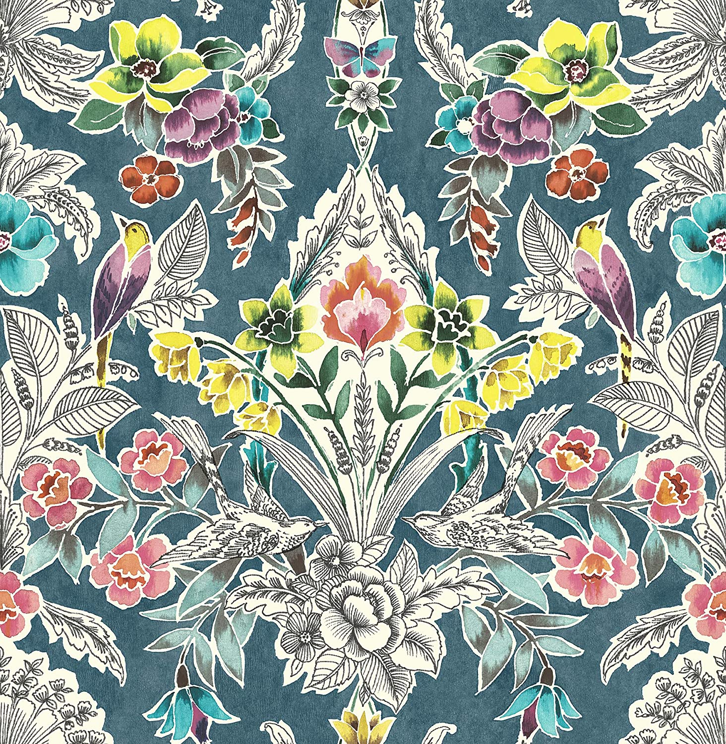 Nuwallpaper Nu3037 Summer Love Teal Peel Stick Multi Color