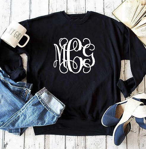 637abb7cd Womens Vines monogram sweatshirt, Ladies custom ... - Amazon.com
