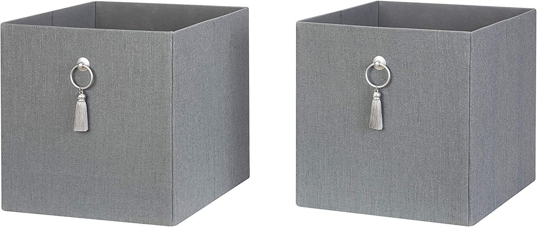 JN Better Homes & Gardens Fabric Storage Bin with Tassel, 6-Pack - Gray