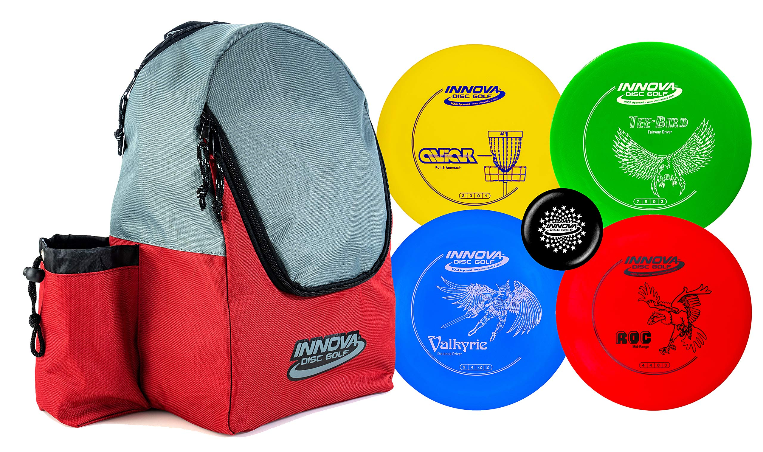 Innova Discs Golf Set with 4 Discs and Discover Disc Golf Backpack - DX Distance Driver, Fairway Driver, Mid-Range, Putter and Mini Marker Disc (Red/Gray) by Innova Discs