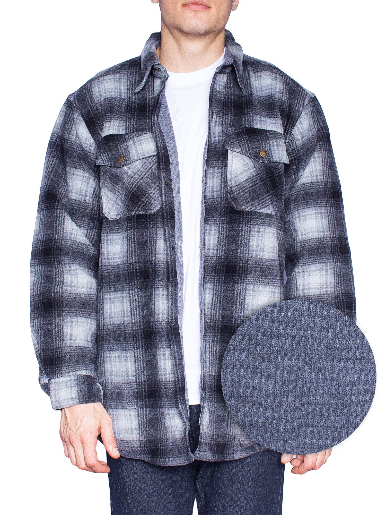 MAXXSEL Flannel Jacket for Mens Big & Tall Thermal Lined Button Down Shirt-Black/Ombre-Medium
