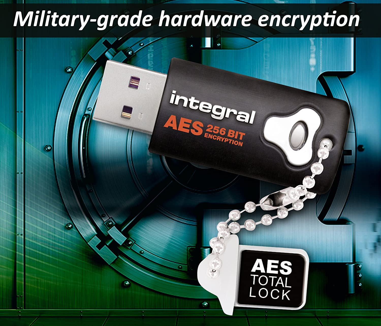 Integral INFD8GCRYPTO197 Crypto 8 GB AES 256-bit Encrypted USB Flash Drive FIPS 197 Certified
