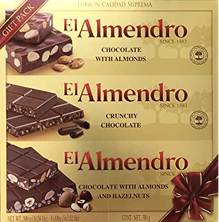 El Almendro Turron Chocolate Variety Gift Pack - 3 Bars: Chocolate With Almonds + Crunchy