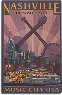 product image for Lantern Press Nashville, Tennesseee - Skyline at Night (10x15 Wood Wall Sign, Wall Decor Ready to Hang)