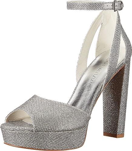 Amazon.com: Stuart Weitzman Bridal & Evening Collection Women's Hijinx Silver  Noir Sandal 9 M: Shoes