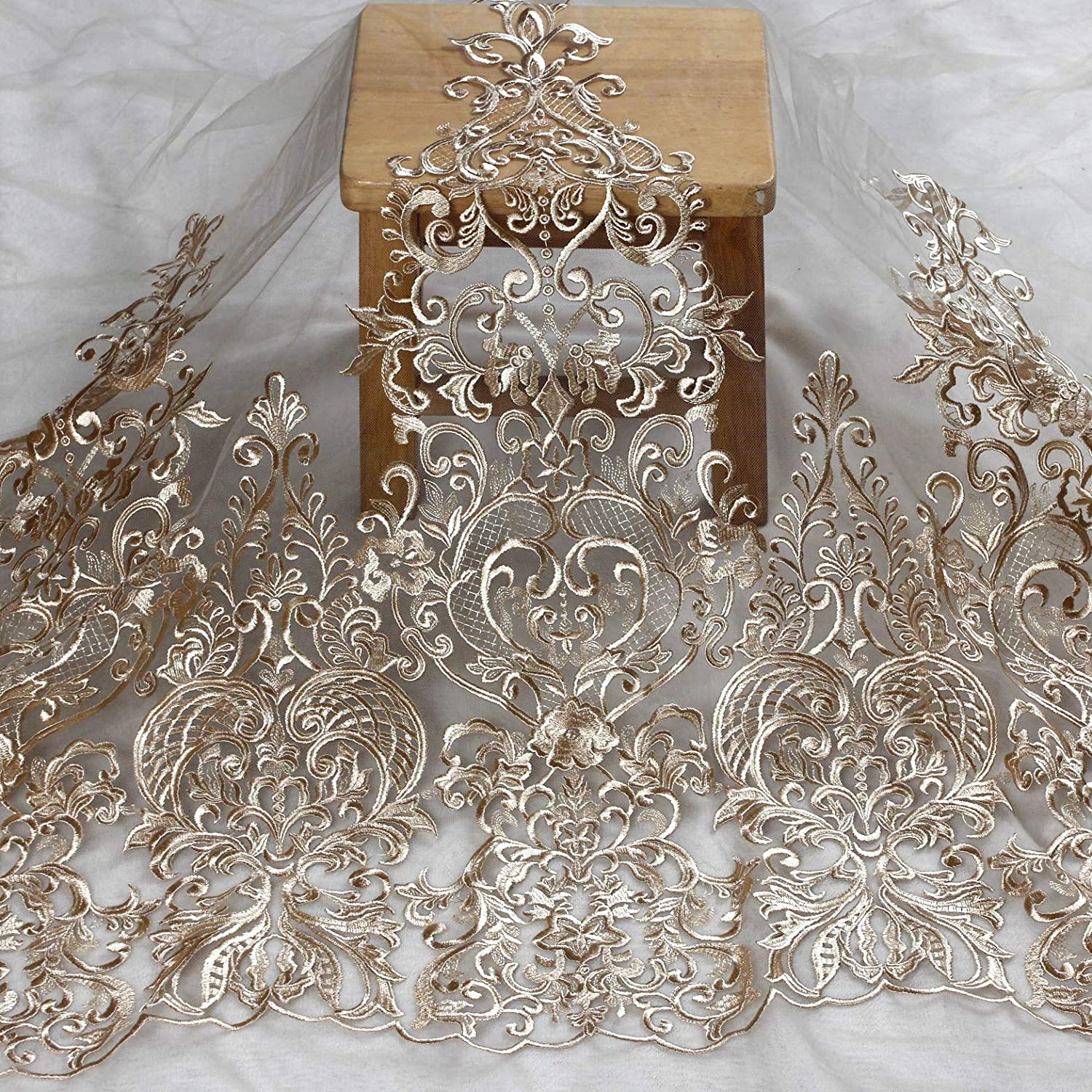Ivory Beige,Gray Gown lace Trim for Bridal Accessories by Yard 2019 New 75cm Width Ivory,Black