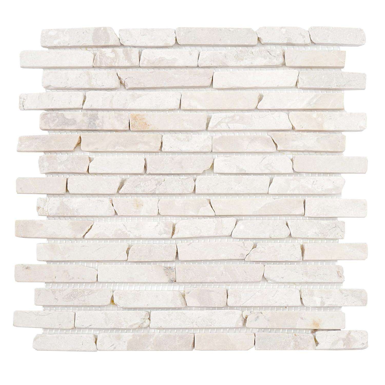 Mendler Carrelage Vigo T688, marbre, Pierre Naturelle, mosaique, Baguettes, 11 pièces à 30x30cm = 1m² ~ Blanc 11 pièces à 30x30cm = 1m² ~ Blanc