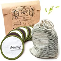 Nature Nerds - Set van 10 make-up pads wasbaar en herbruikbaar, make-up remover pads van bamboe inclusief wasnetje (set…
