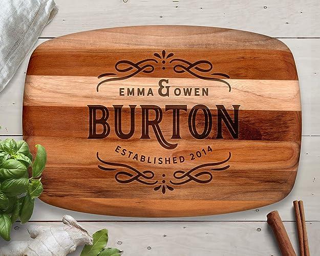 Amazon.com: Wedding Gift, Custom Cutting Board, Teak, Personalized ...