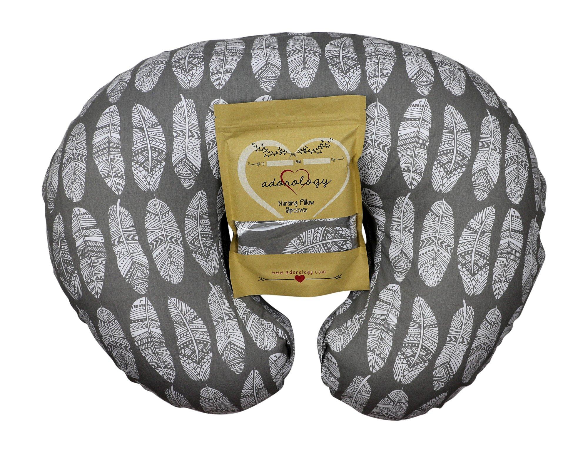Nursing Pillow Slipcover Gray Feathers Design Maternity Breastfeeding Newborn Infant Feeding Cushion Cover Case Baby Shower Gift for New Moms