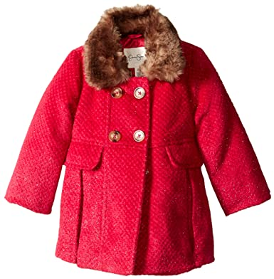 b74061ace452 Amazon.com  Jessica Simpson Little Girls  Faux Fur Trim Wool Coat ...