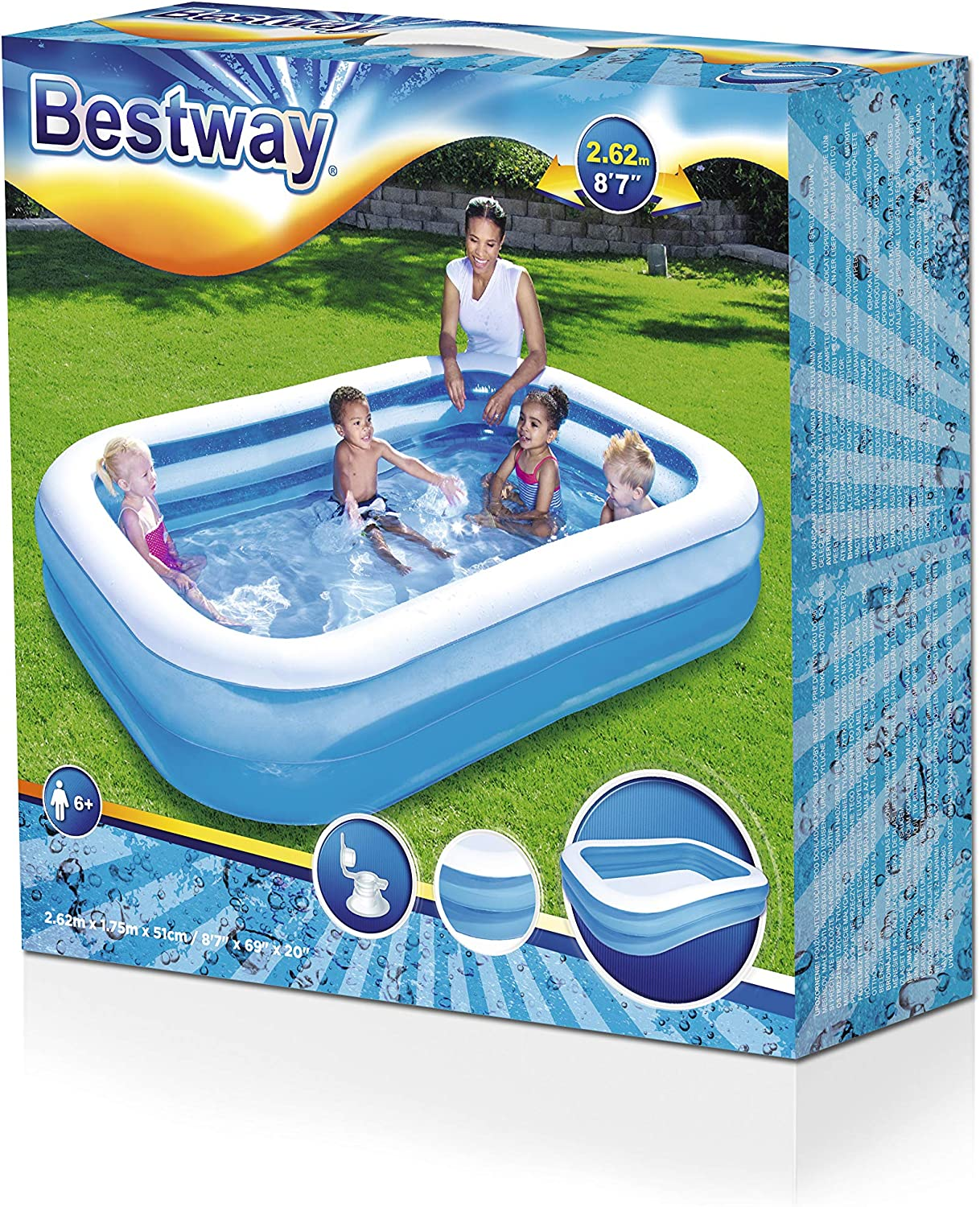 Bestway - Piscina Hinchable, Infantil, Azul , 262 x 175 x 51 cm: Bestway Family Pool: Amazon.es: Jardín