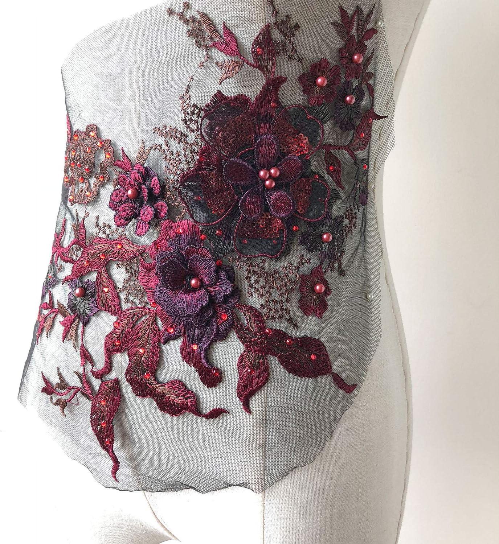 Un gran apliques de encaje floral con cuentas con Lentejuelas Tul Encaje Motif 2 opciones de colores.