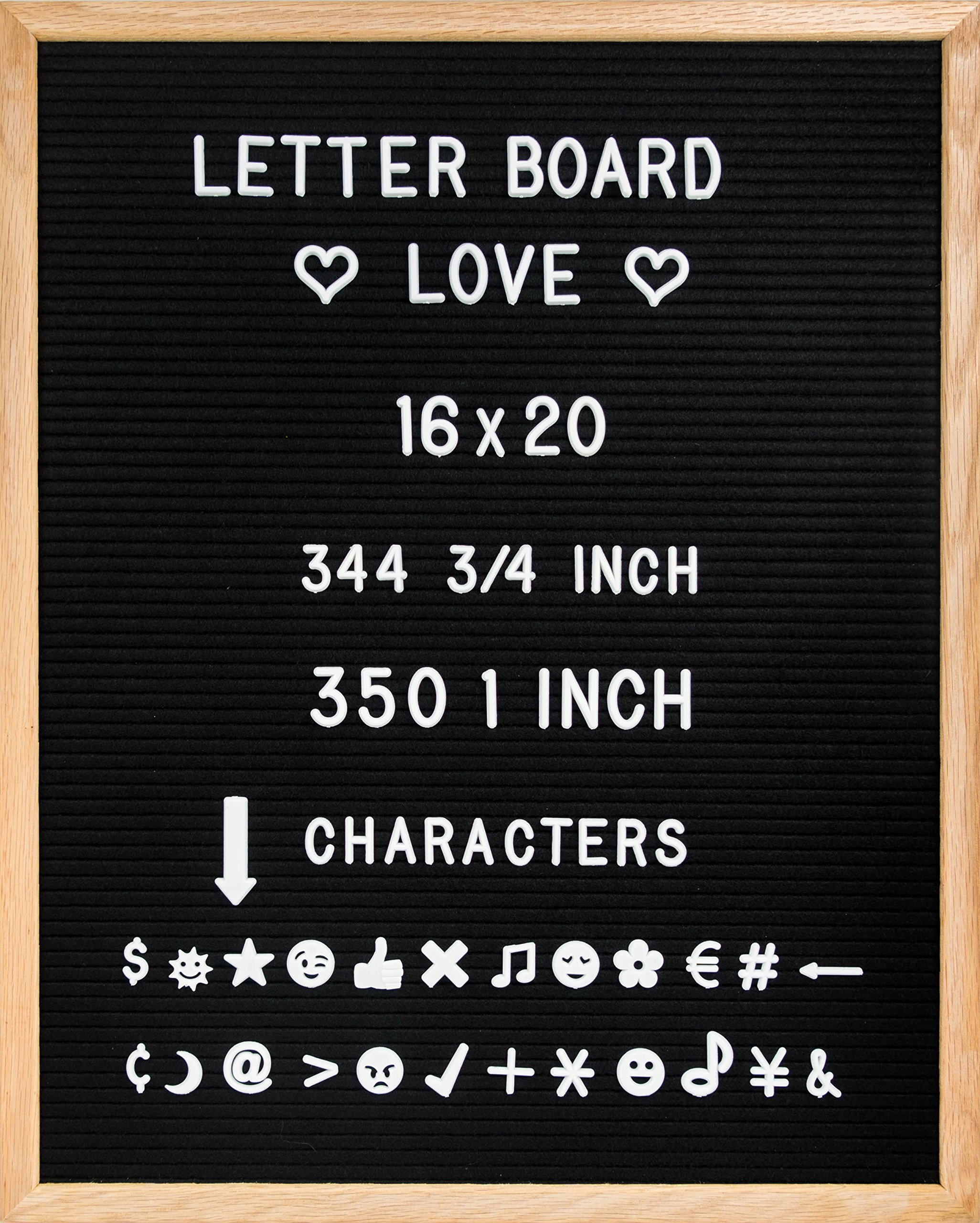 16'' x 20'' Felt Letter Board with Oak Wood Frame, 344 3/4'' & 350 1'' Letters, and Two Canvas Letter Bags (Black Felt)