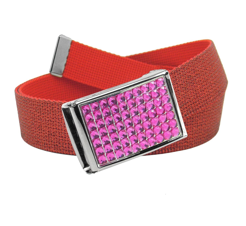 Girls School Uniform Sparkly Pink Crystal Flip Top Belt Buckle with Canvas Web Belt 7300G-$P