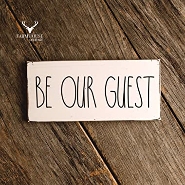 Rustic Be Our Guest Sign | Rustic Wood Sign | Farmhouse Sign | Inspired Rae Dunn Sign | Rustic Home Decor | Farmhouse Home Decor | French Farmhouse Decor | Shabby Chic Decor | Primitive Decor