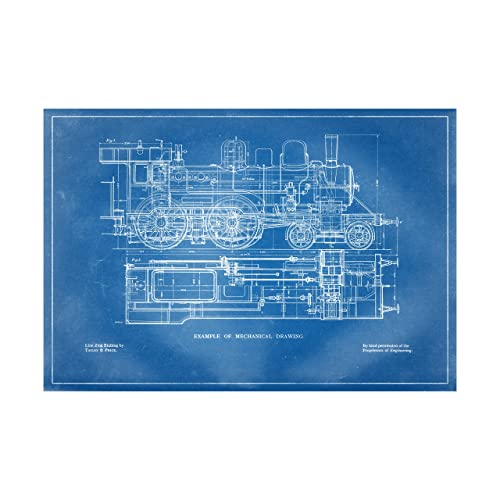 Amazon steam train mechanical drawing blueprint style art steam train mechanical drawing blueprint style art print 26quot tall x 38quot malvernweather Images