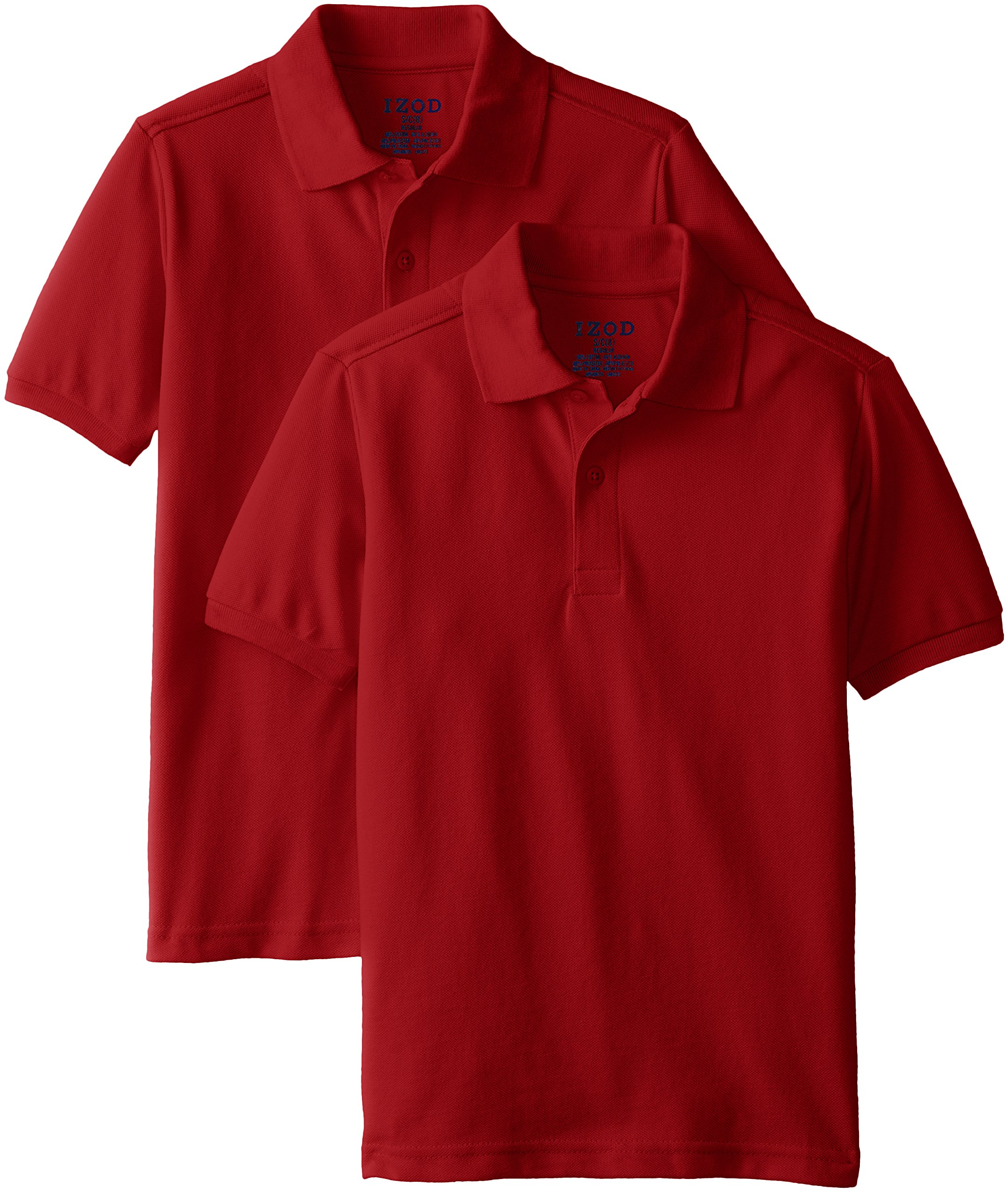 IZOD Little Boys' Short Sleeve Polo 2 Piece Bundle, Red, Medium