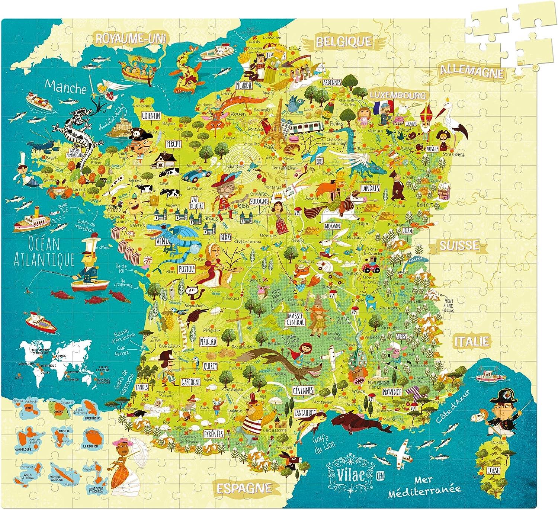 Vilac 50 x 55 cm Mapa de Francia Olivier cartón Puzzle (300 Piezas): Amazon.es: Juguetes y juegos