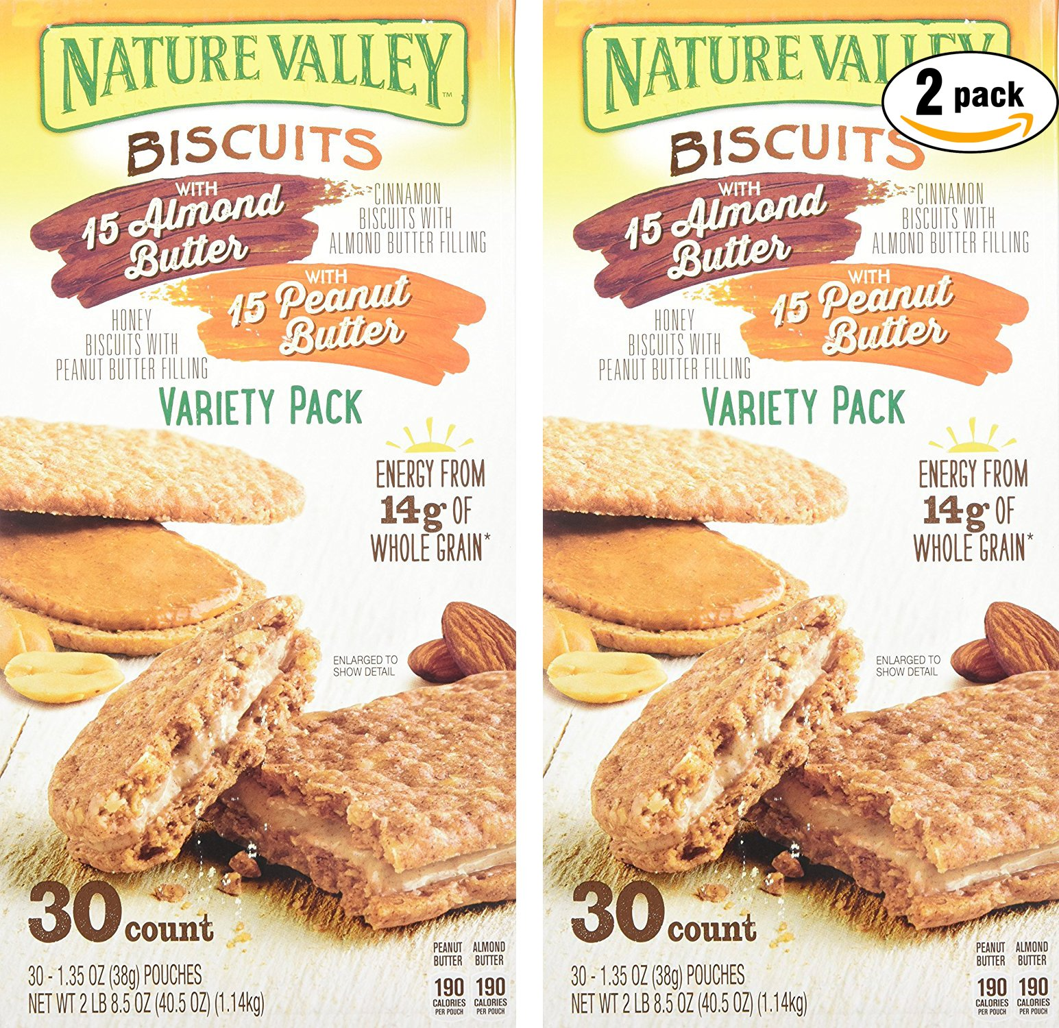 Nature Valley Sandwich Biscuit with Almond Butter or Peanut Butter, Variety Pack, 30 Count (Pack of 2, Total of 60 Ct) by Nature Valley