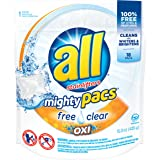 All Mighty Pacs, Free Clear Oxi, Super Concentrated Laundry Detergent Pacs, 15.0 Ounce