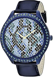 GUESS Womens U0625L3 Iconic Indigo Blue Python Print Watch