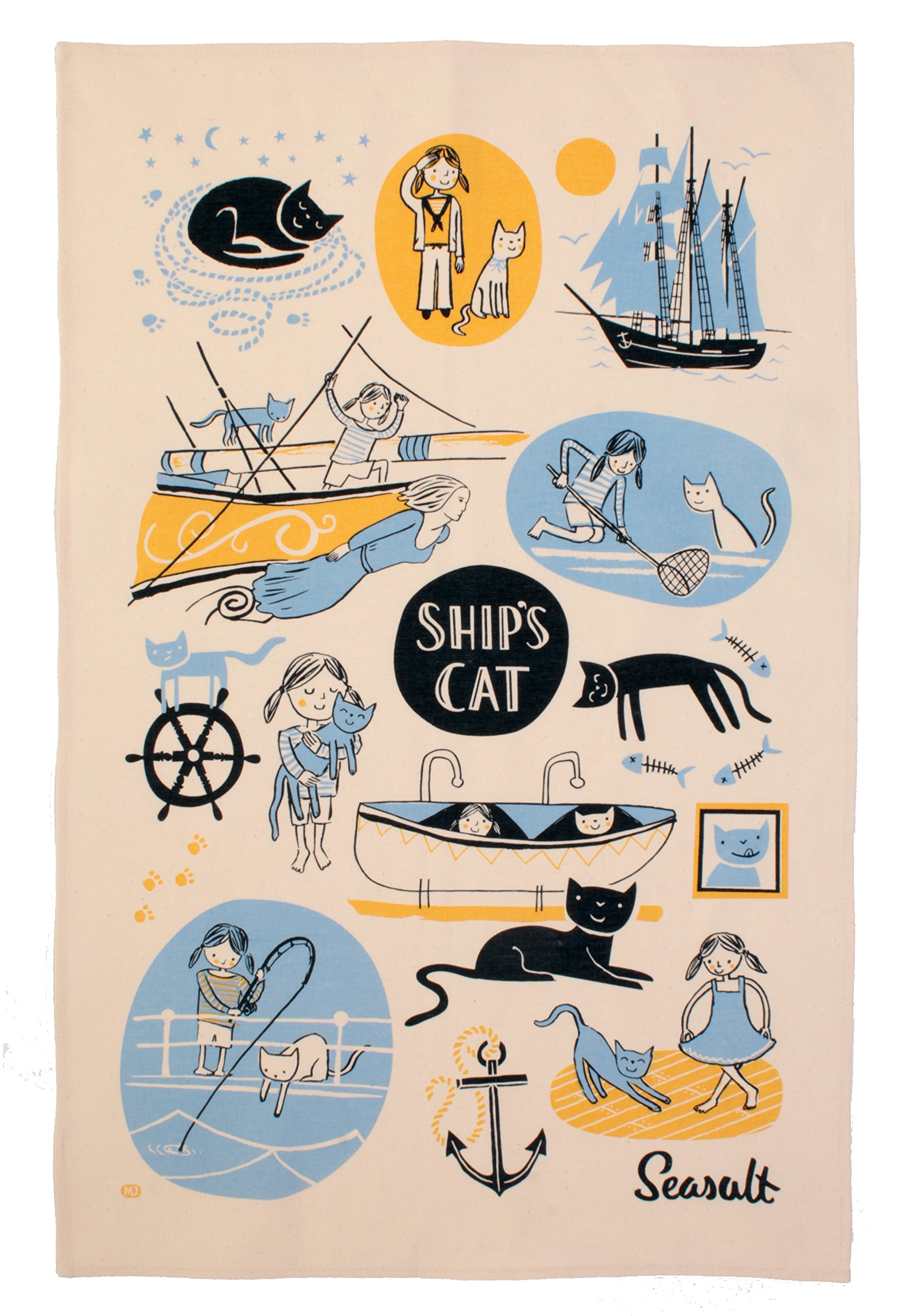 Ulster Weavers Seasalt Ships Cat & First Mate Cotton Tea Towel by Ulster Weavers