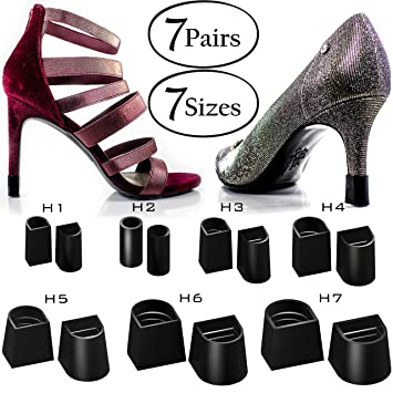 e4d9f261688c2 Heel Hunks Black 7 Sizes 7 Pair Set Heel Protectors Replacement Tip Caps  for High Heel Shoes...