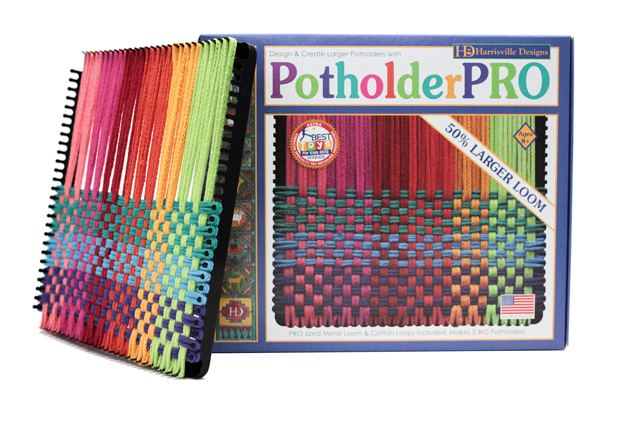 Harrisville Designs 10'' Potholder Loom (PRO Size) Kit, Sturdy Metal Loom with Loops to Make 2 Potholders (Packaging May Vary), Black - Made in The USA by Harrisville Designs