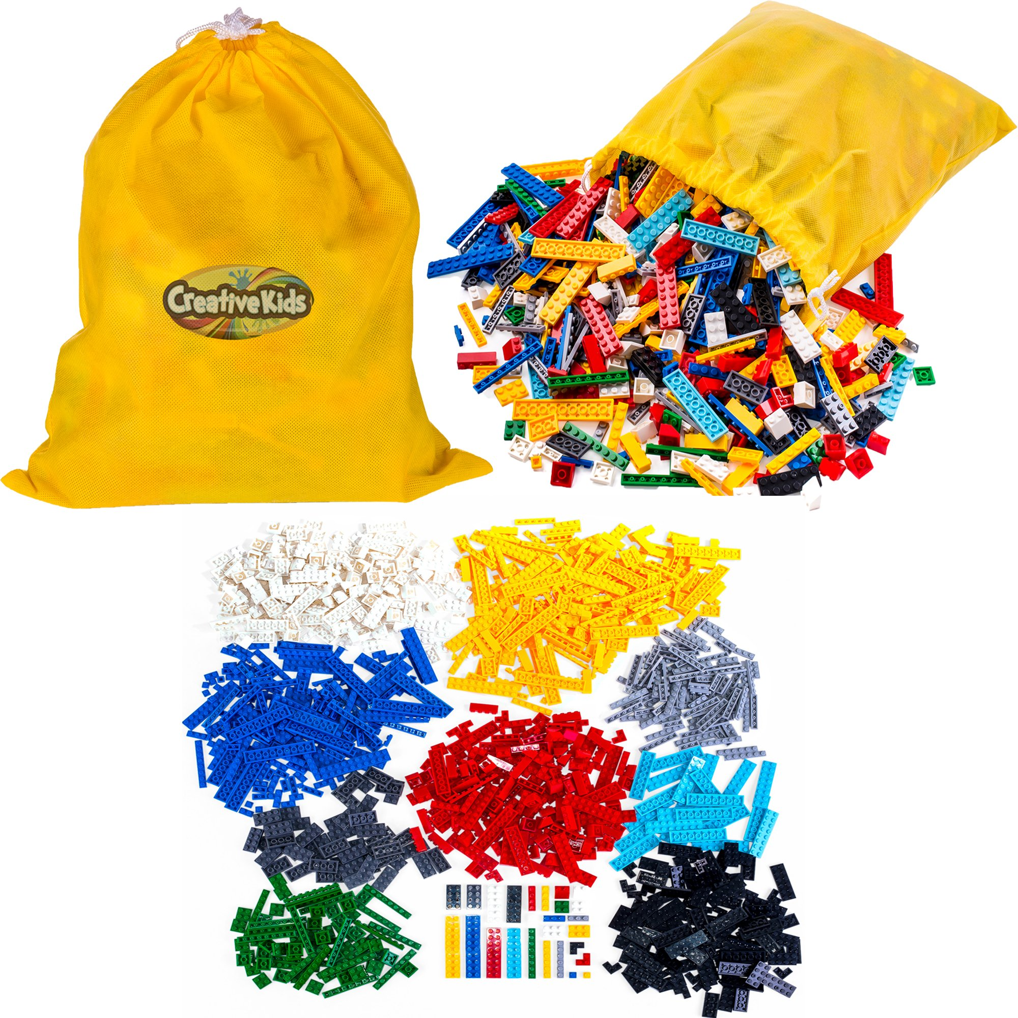 Creative Kids Building Blocks Set for Kids & Children - 1200 Assorted Bricks - 14 Different Shapes, Assorted Colors & Sizes, Storage Bag, CE Certified & Non-Toxic - Ages 6 +