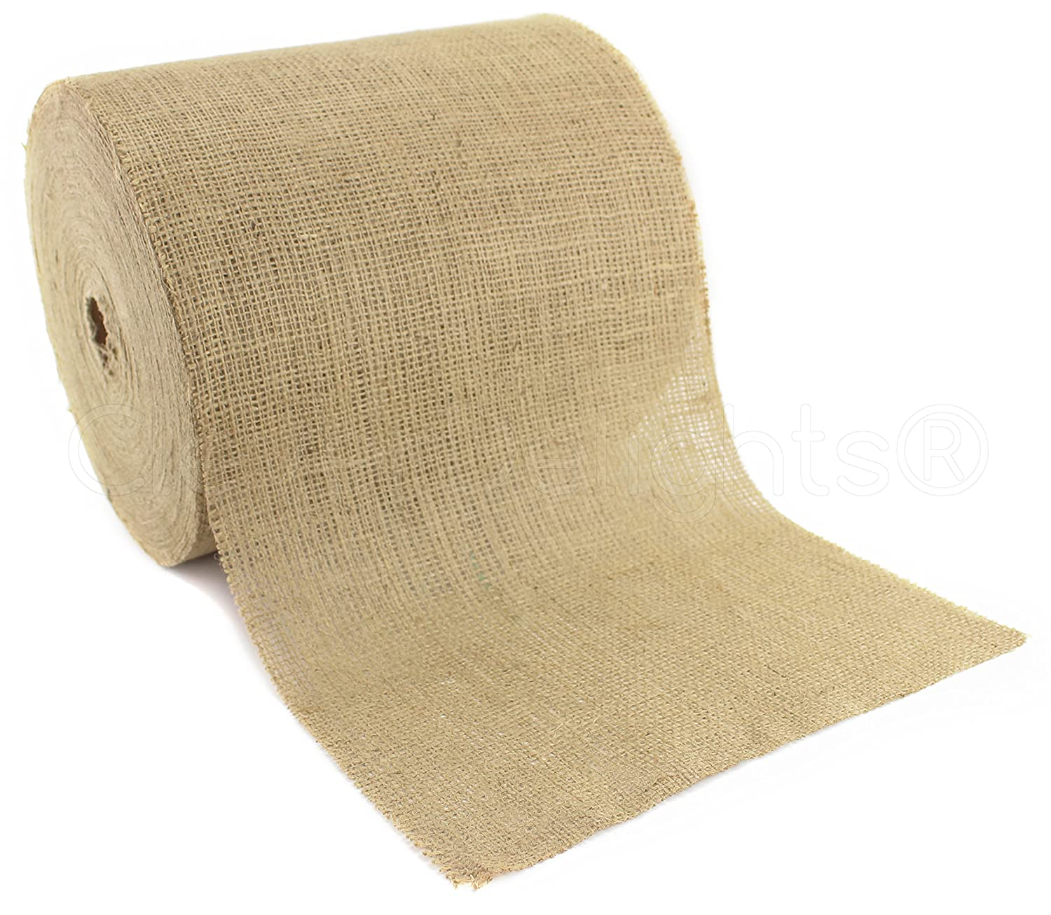 """CleverDelights 12"""" Natural Burlap Roll - 50 Yards - Eco-Friendly Jute Burlap Fabric - Unfinished Edges - 12 Inch"""