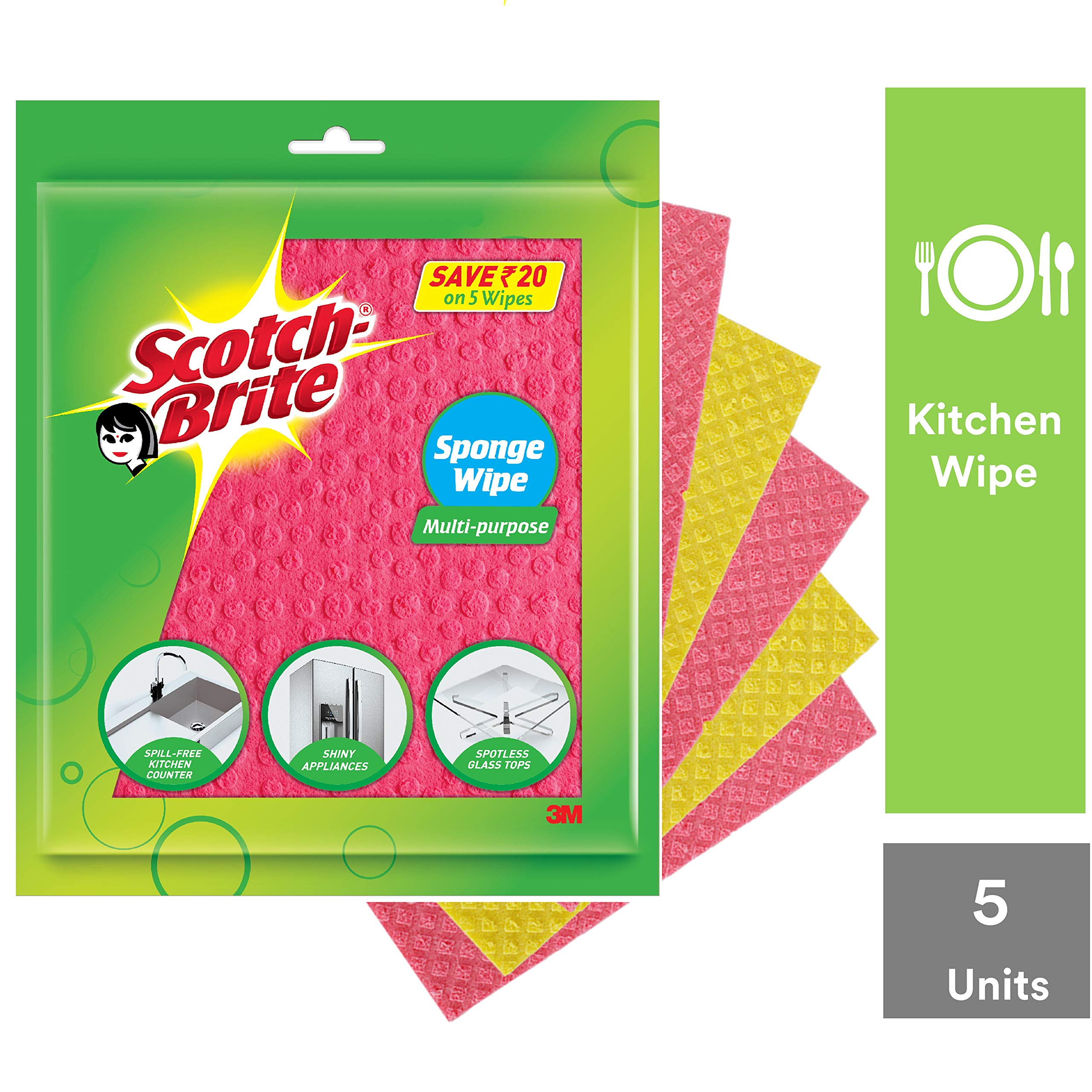 Scotch-Brite Sponge Wipe 5 Pcs pack ( Multipurpose) product image