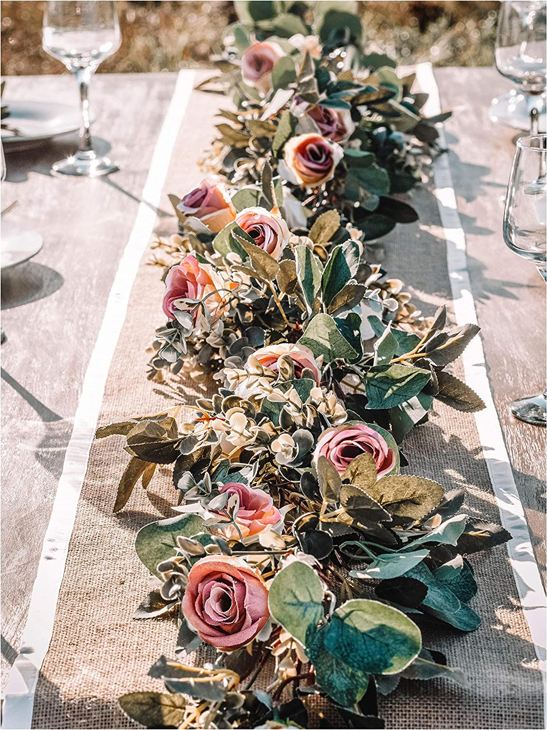 WILDIVORY Eucalyptus Garland with Flowers - 17 Pink Roses - Lush, Natural Looking Eucalyptus and Flower Garland Decor, Floral Garland Greenery for Wedding Table Decor with Abundant Vines, Rose Leaves