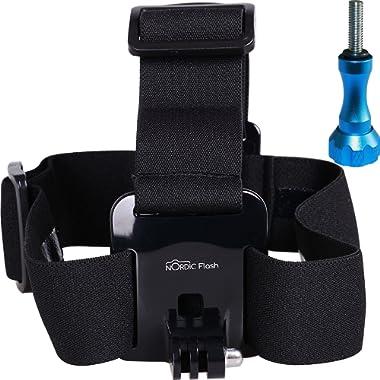 Head Strap Mount for GoPro Cameras - Headband Harness + Aluminum Thumbscrew - Fits All Go Pro Hero Models, HERO4, HERO3+ Black Edition, HERO3, HERO2, HERO1, HD & SJ4000 etc. - 1 Year Warranty