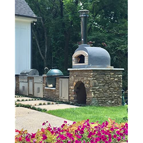 Outdoor Pizza Oven Wood Fired Insulated W Brick Arch Chimney