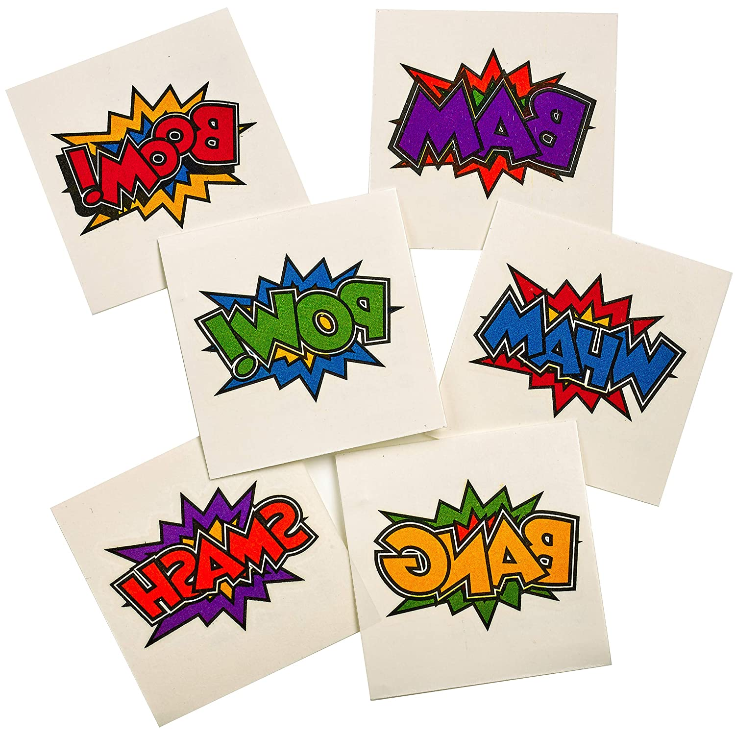 Superhero Birthday Party Prizes For Goodie Bag Favors Stocking Stuffers for Kids Temporary Super Hero Tattoos In Assorted Designs /& Colors 144 Piece Bulk Superhero Tattoos
