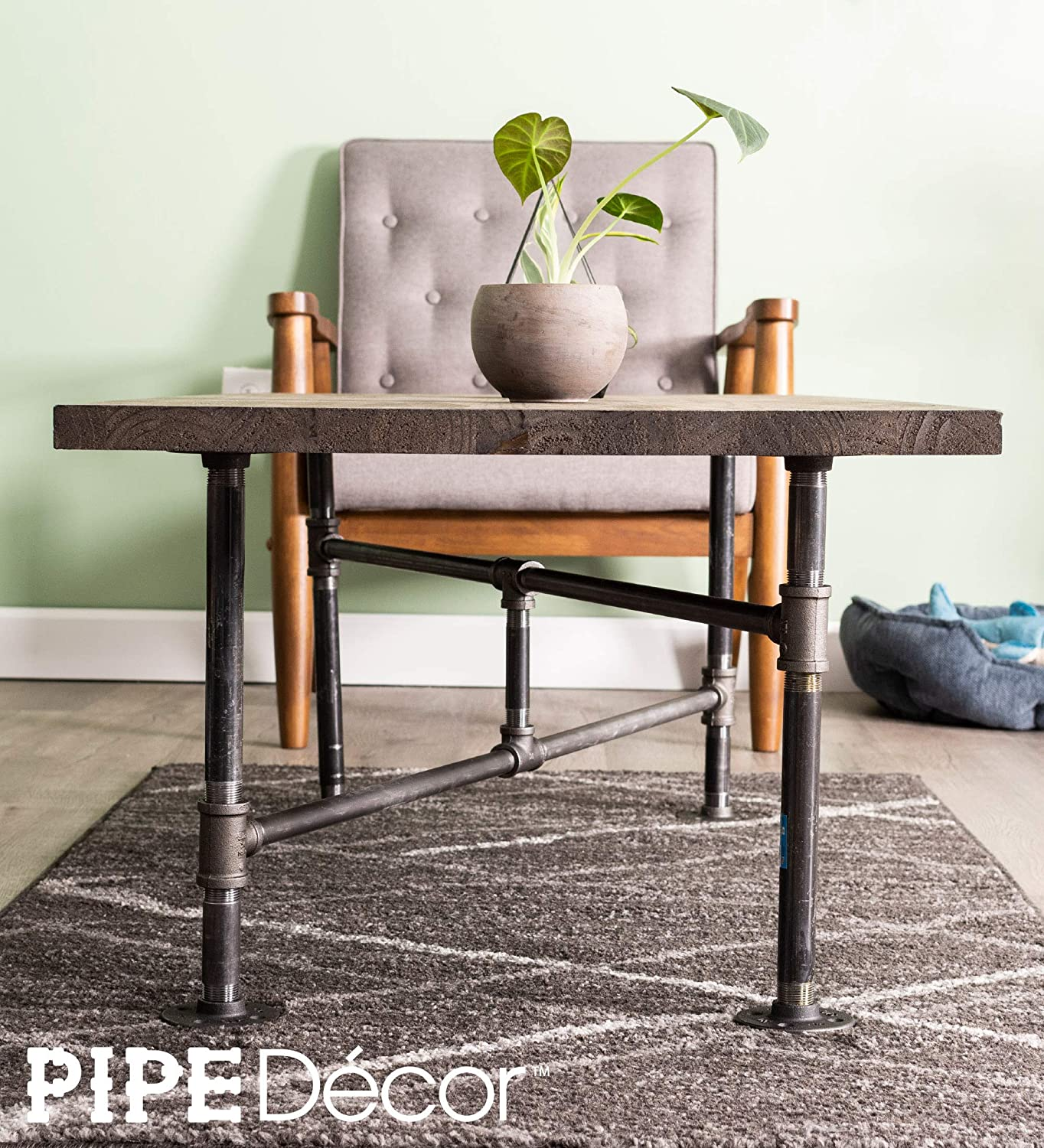 Dark Grey//Black Rough Pipes Vintage Furniture Unfinished Raw Steel Metal Heavyweight Construction Rustic Living Room Office Table Base Kit Industrial Pipe Decor Coffee Table Leg Set Turnpike Design