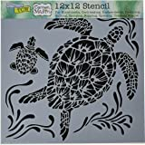"""Crafters Workshop TCW610 Template, 12"""" x 12"""", Sea Turtles, White"""