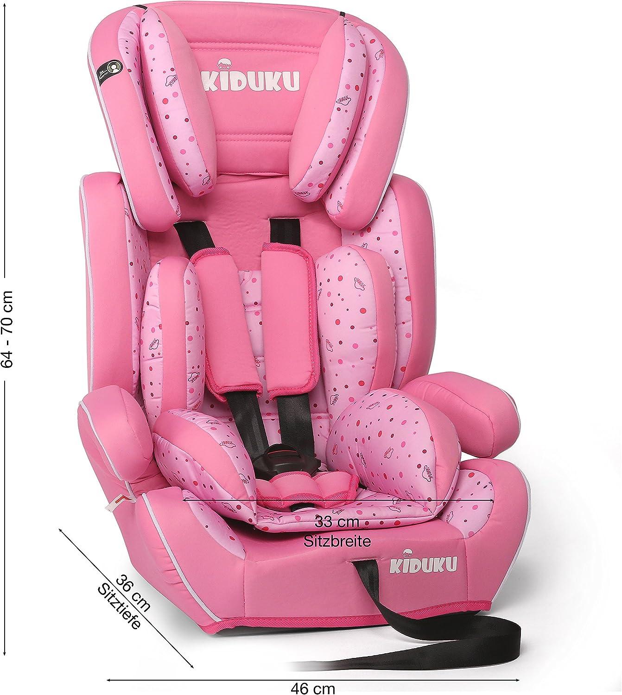 Rosa Grupo 1//2//3 KIDUKU/® Silla de coche crece con el ni/ño 9 kg-36 kg 1-12 a/ños