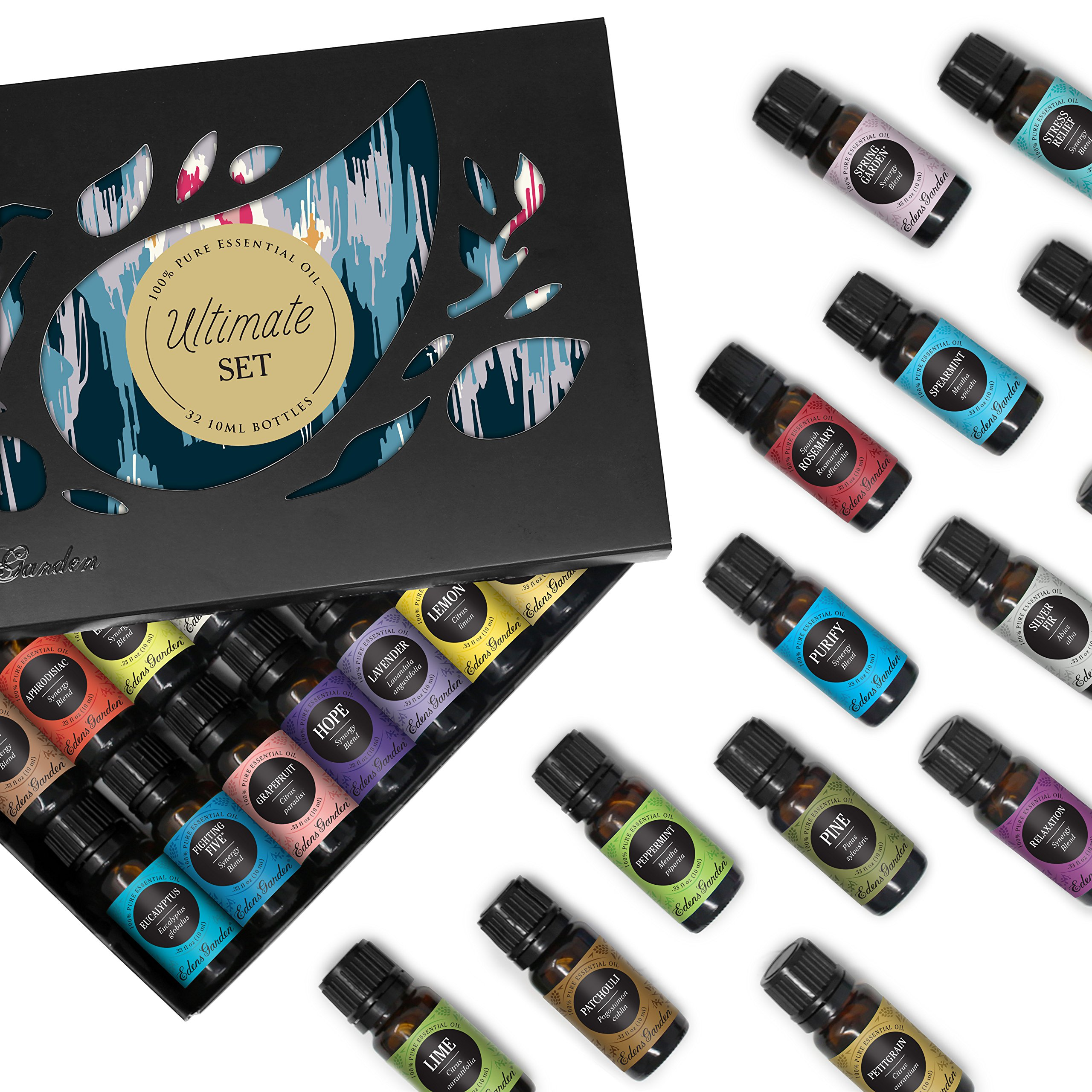 32/ 10 ml Ultimate Aromatherapy 100% Pure Therapeutic Grade Essential Oils Set (Essential Oil Gift Pack) by Edens Garden