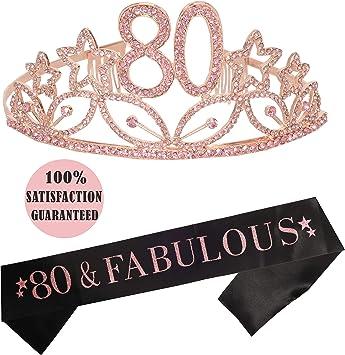 Amazon.com: Tiara y cinta rosa de 80 cumpleaños para fiesta ...