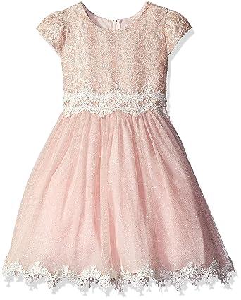 b29fd520724a Rare Editions Little Girls' Toddler Lace and Glitter Mesh Dress, Blush, ...
