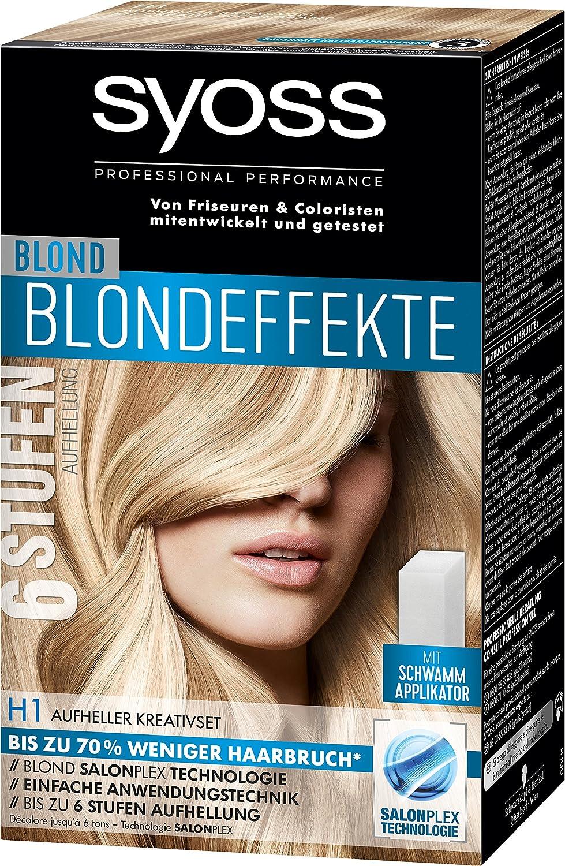 Tinte para el cabello Syoss, efecto rubio, H1, set creativo ...